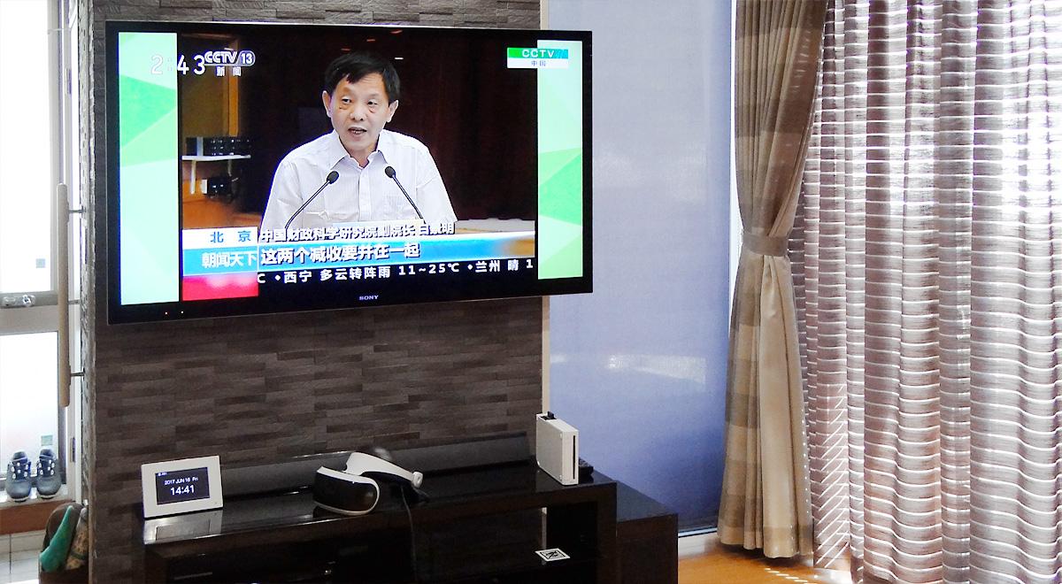 岐阜県岐阜市のお客様宅で壁掛けテレビ。壁はエコカラットです。
