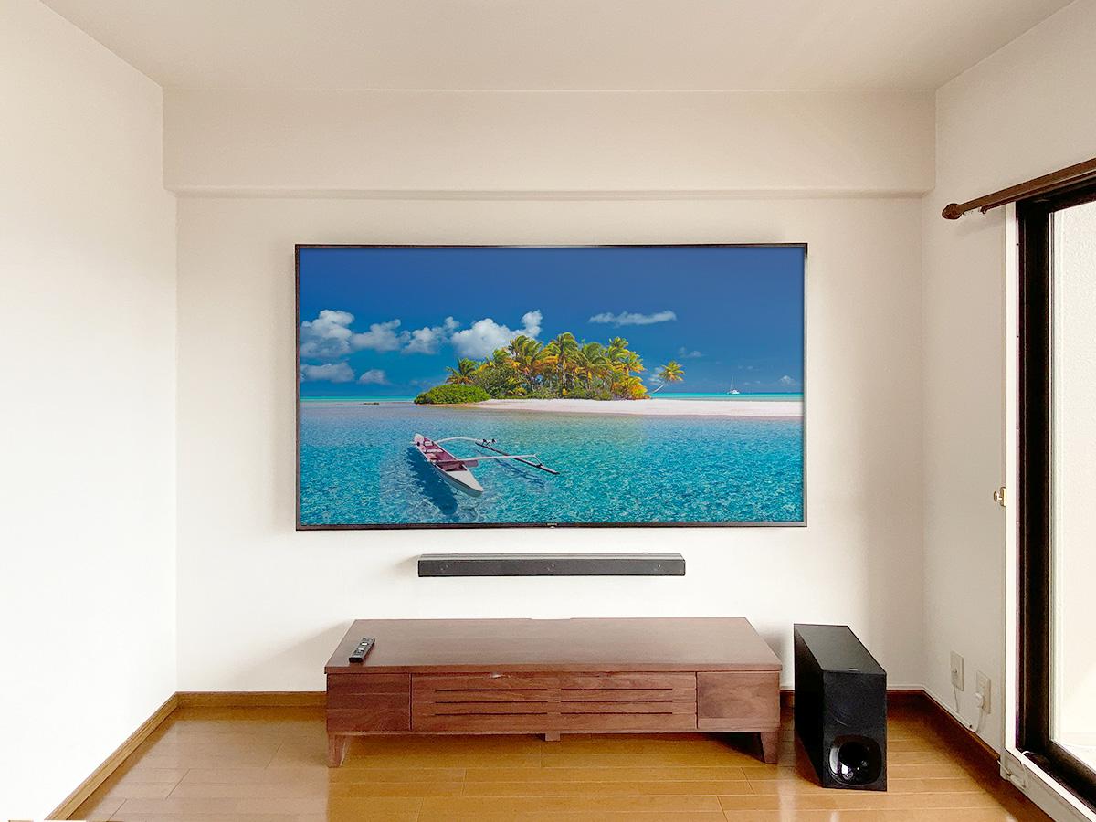 滋賀県の草津市で設置した85インチの液晶テレビとサウンドバー