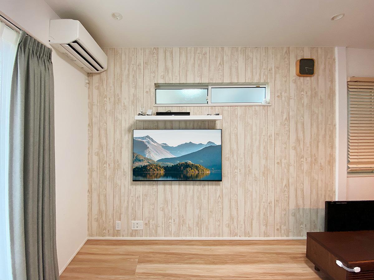 松戸市での壁掛けテレビ(正面から撮影)